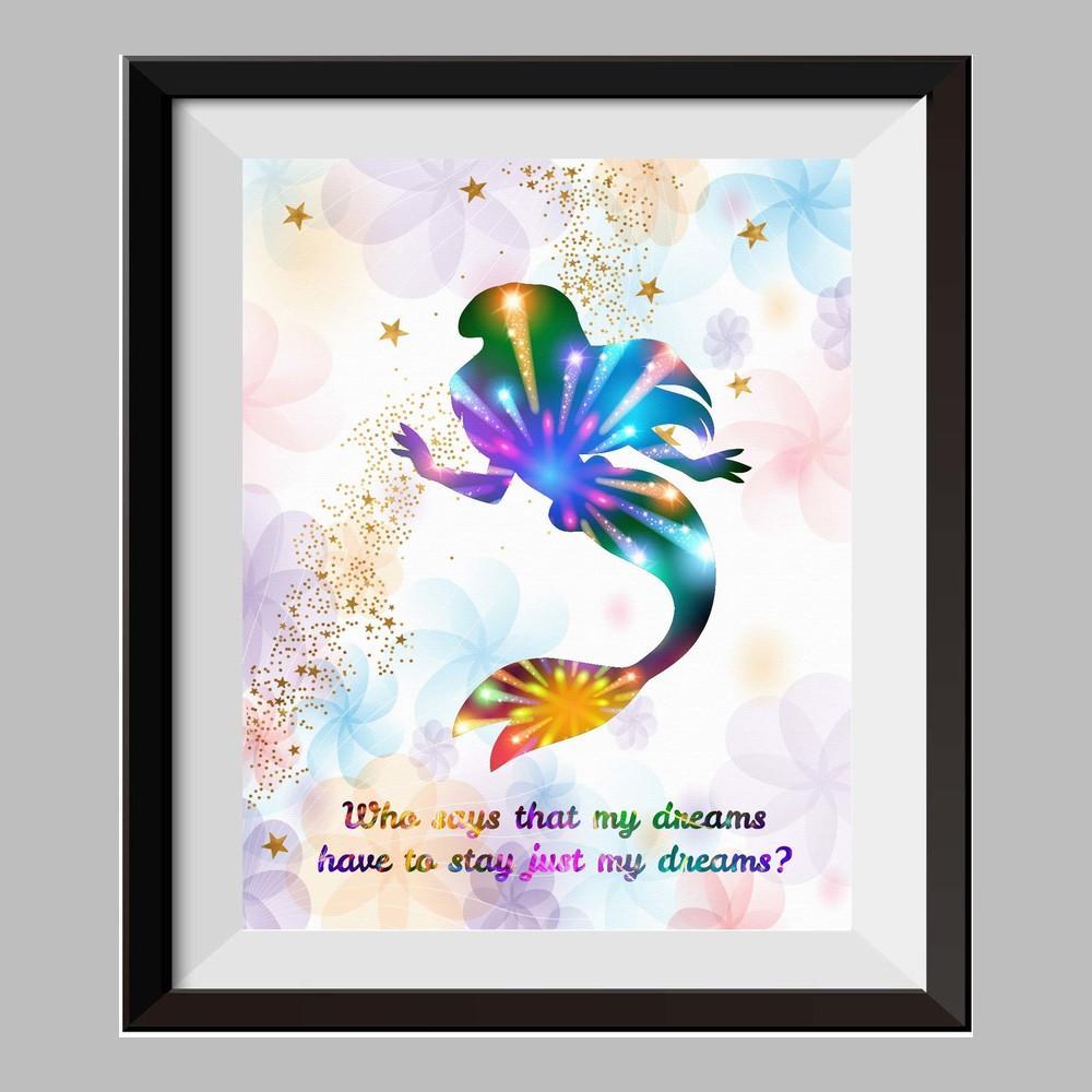 1000x1000 Princess Ariel The Little Mermaid Watercolor Print Nursery Decor