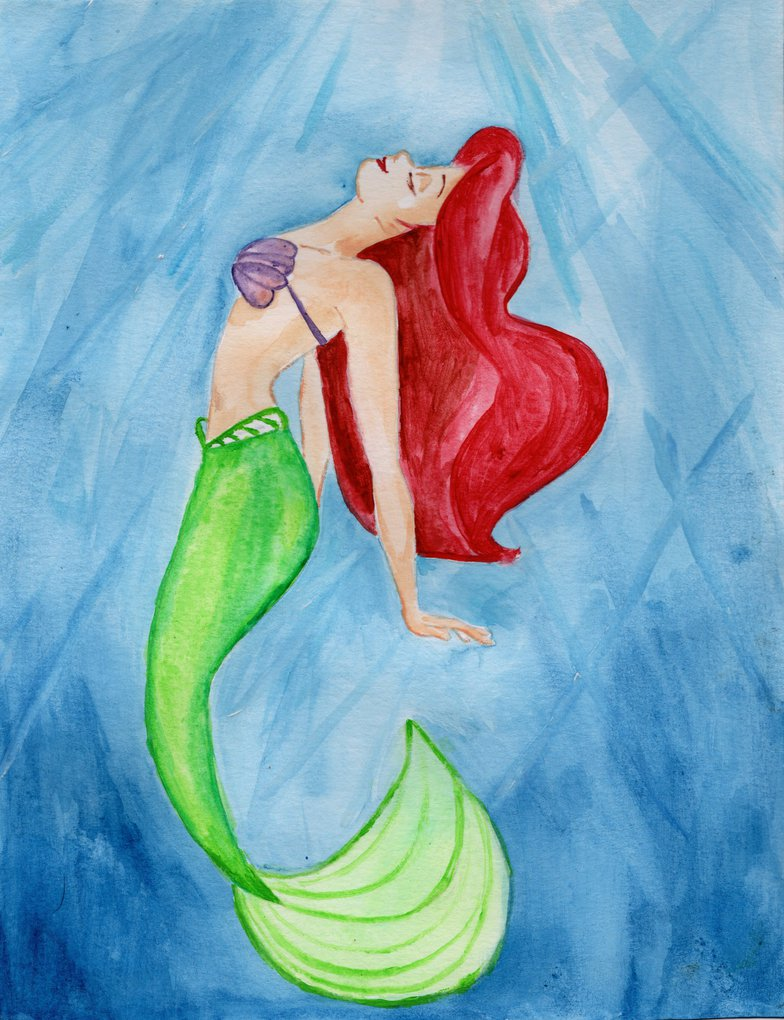 784x1020 The Little Mermaid Ariel Watercolor By Julesrizz