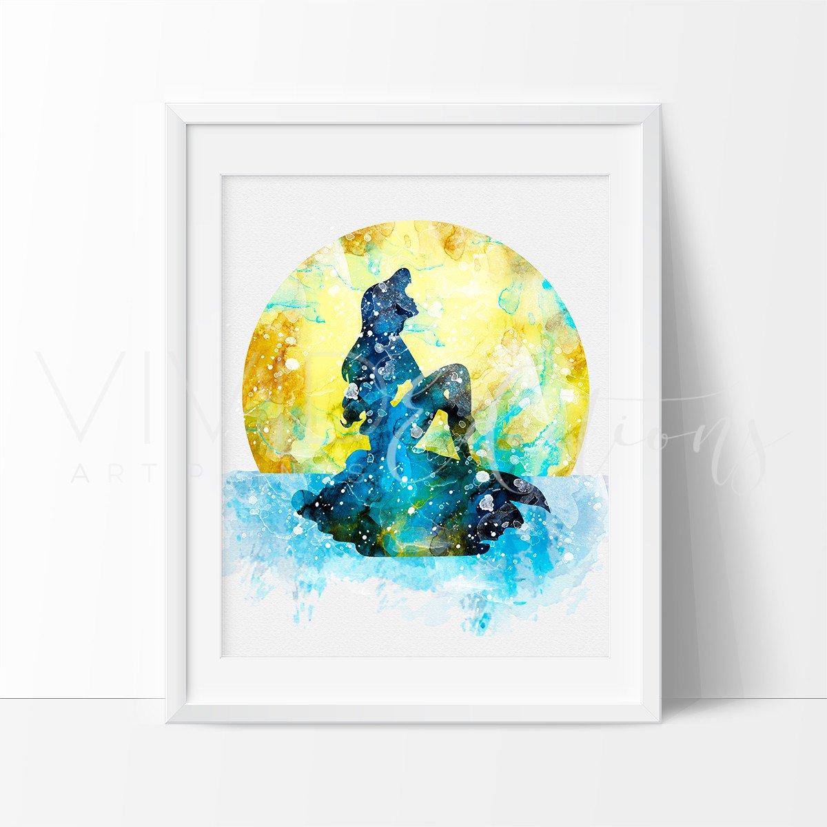 1200x1200 Ariel Little Mermaid Watercolor Nursery Art Print Kids Decor Wall