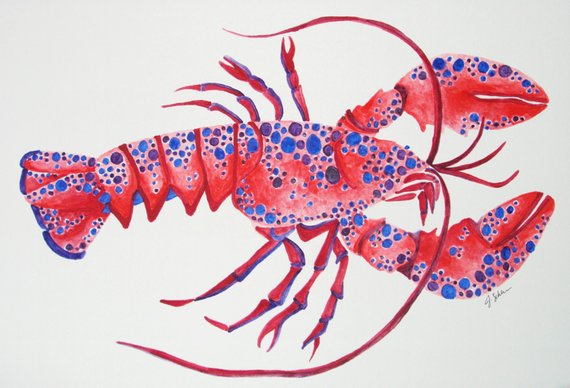 570x388 Original Hand Painted Lobster Watercolor Painting Nautical Etsy