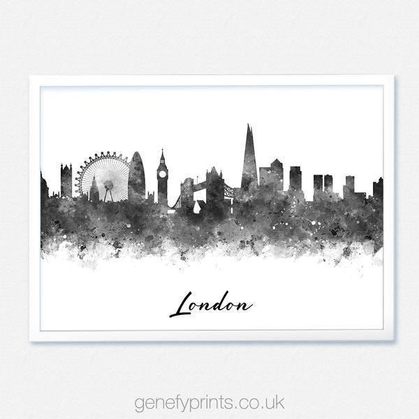 600x600 London Skyline Black And White Watercolor Print