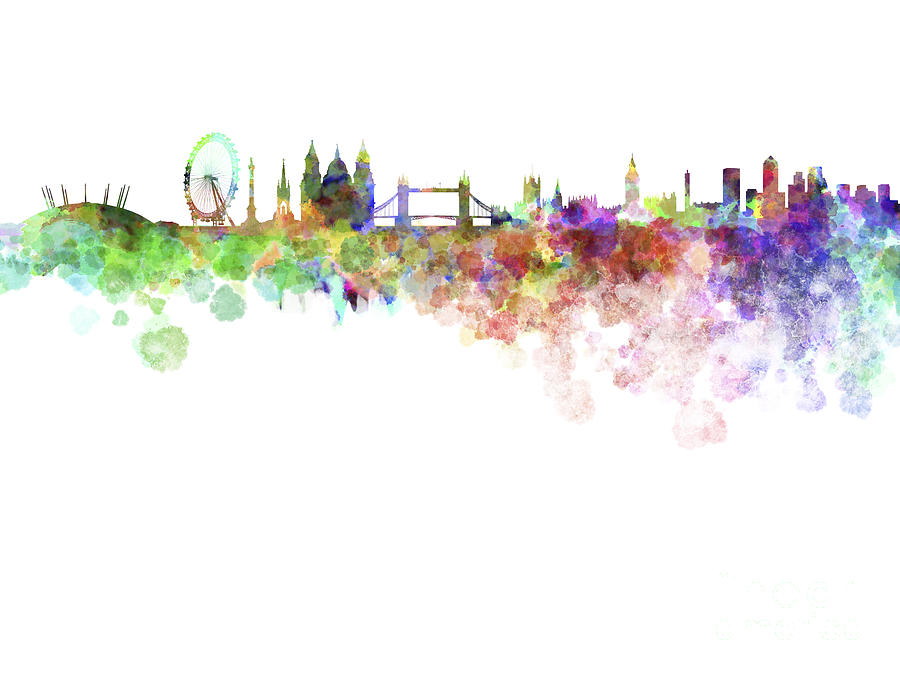 900x675 London Skyline In Watercolor Over White Background Painting By