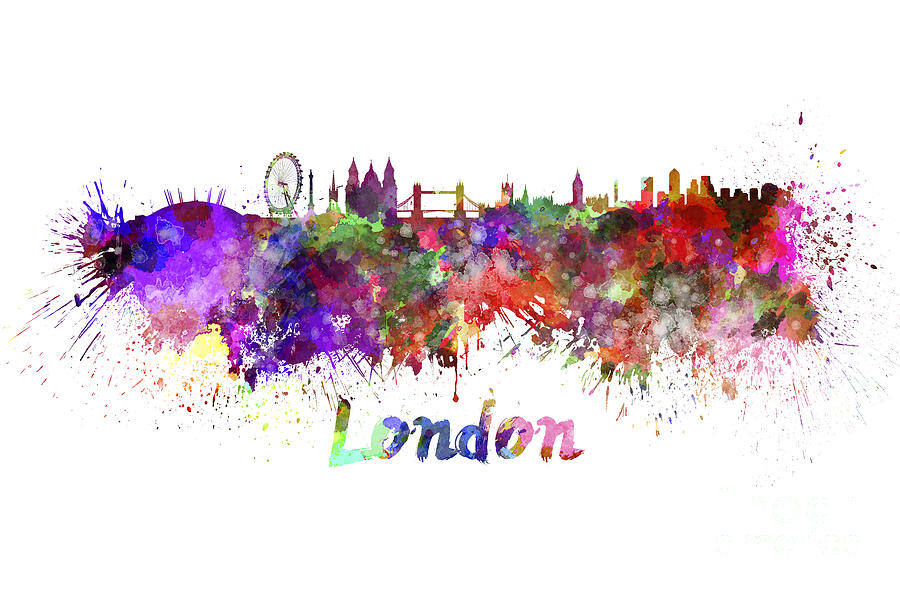 900x590 London Skyline In Watercolor Painting By Pablo Romero