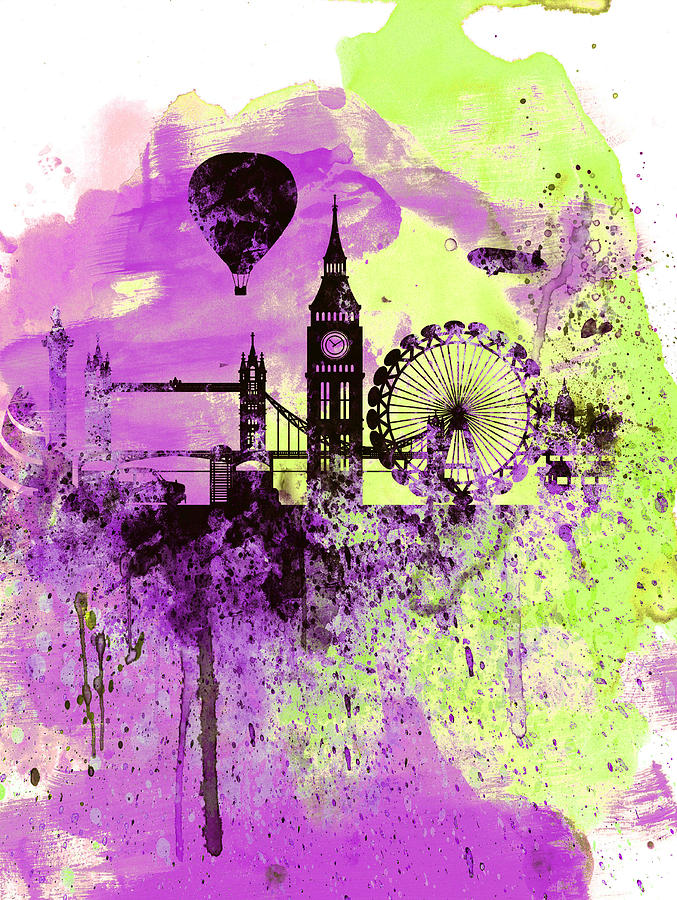 677x900 London Skyline Watercolor 1 Painting By Naxart Studio