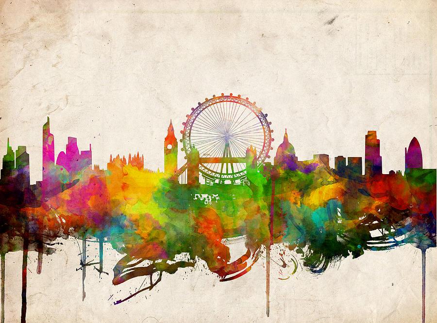 900x666 London Skyline Watercolor 2 Painting By Bekim Art