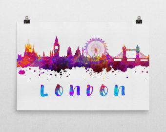 340x270 London Skyline Watercolor Art Print Wall Decor Etsy