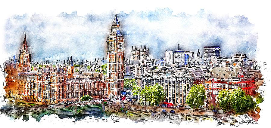 900x426 London Skyline Watercolor Digital Art By Atsurge Jk Wang
