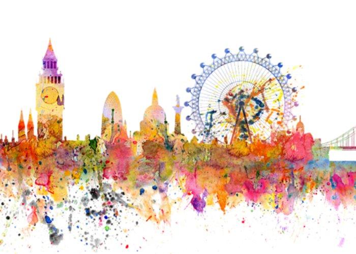 700x500 London Skyline Watercolor Greeting Card For Sale By Michal Boubin