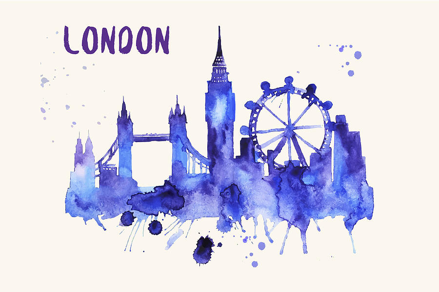 900x600 London Skyline Watercolor Poster