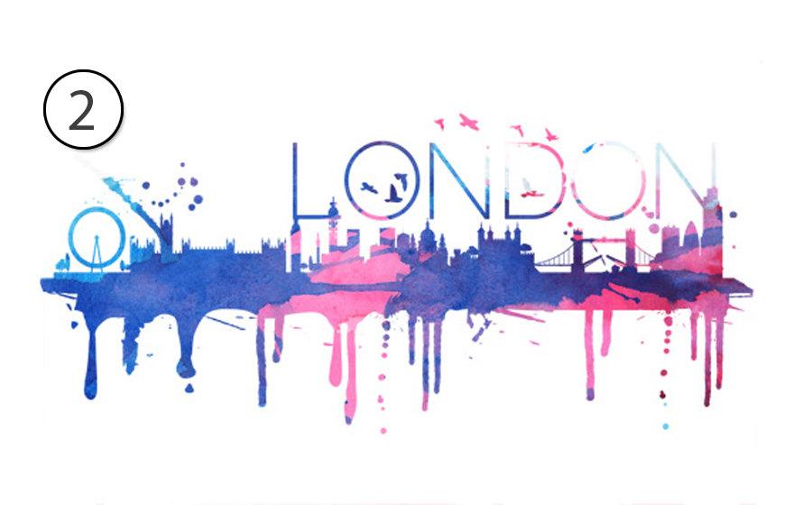 900x568 London Skyline Watercolor Wall Print Decal