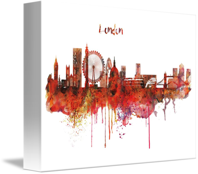 650x570 London Skyline Watercolor By Marian Voicu