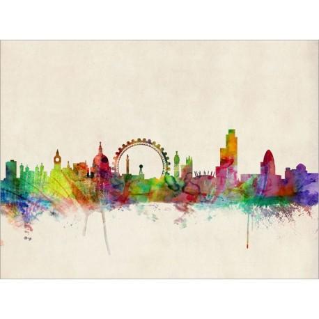 458x458 London Skyline Watercolour Art Canvas Print