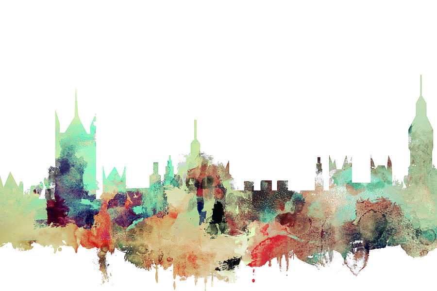 900x600 London Skyline Watercolour Painting By Dim Dom
