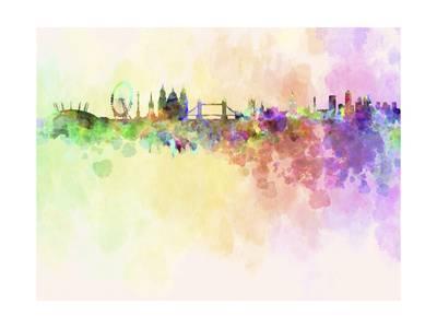 400x300 London Skyline In Watercolor Background Art Print By Paulrommer