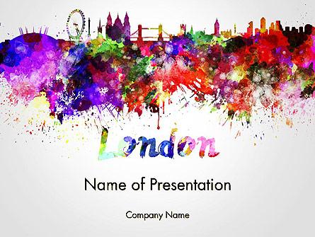 445x335 London Skyline In Watercolor Splatters Powerpoint Template