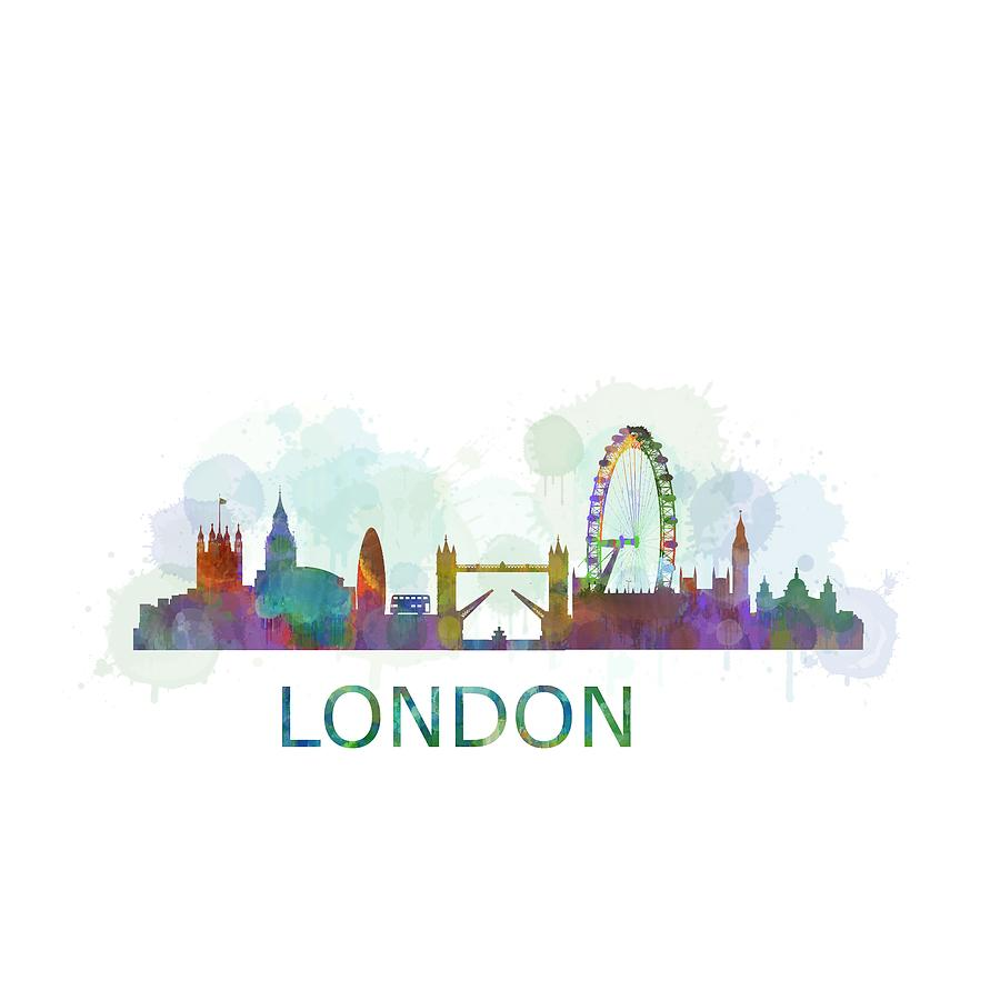 900x900 London Uk Skyline Hq Watercolor Digital Art By Hq Photo