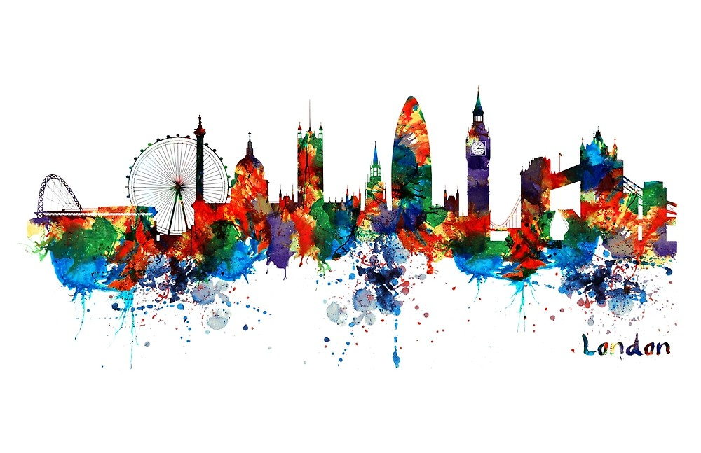 1000x647 London Watercolor Skyline Silhouette By Marian Voicu Redbubble