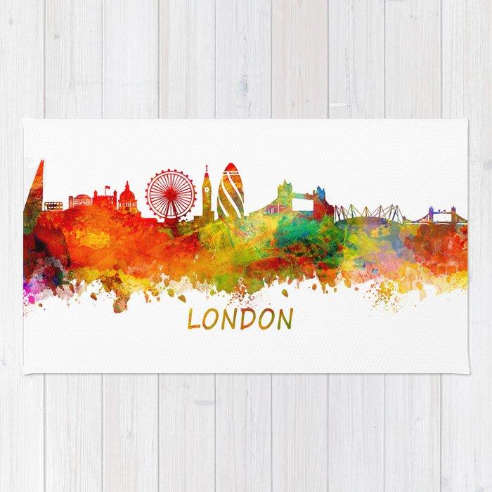 700x700 London Skyline Watercolor Rug By Jbjart Society6