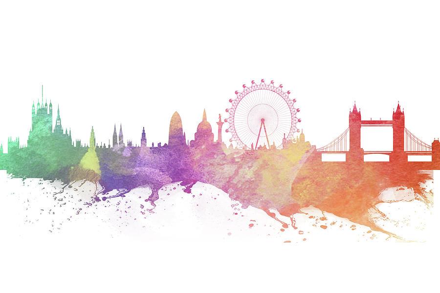 900x600 Watercolor London Skyline Digital Art By Yucel