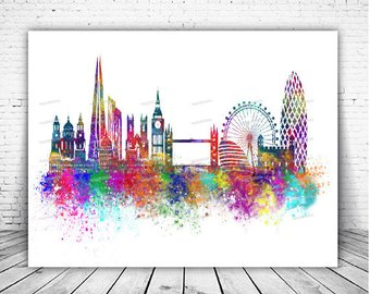 340x270 Watercolor London Skyline Etsy