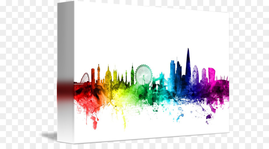 900x500 Watercolor Painting Canvas Print Skyline