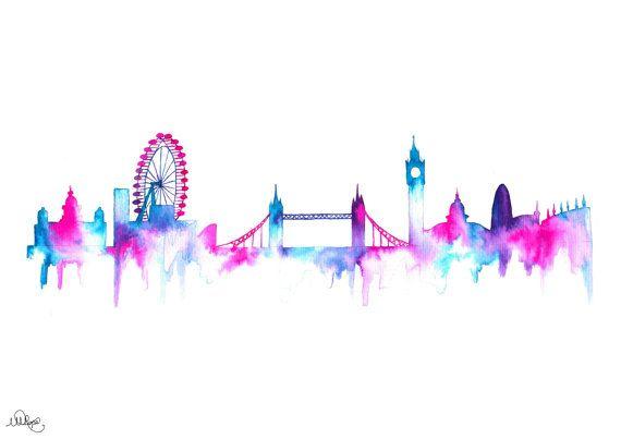 570x403 London Cityscape Skyline. Watercolor Style Silhouette Art Print