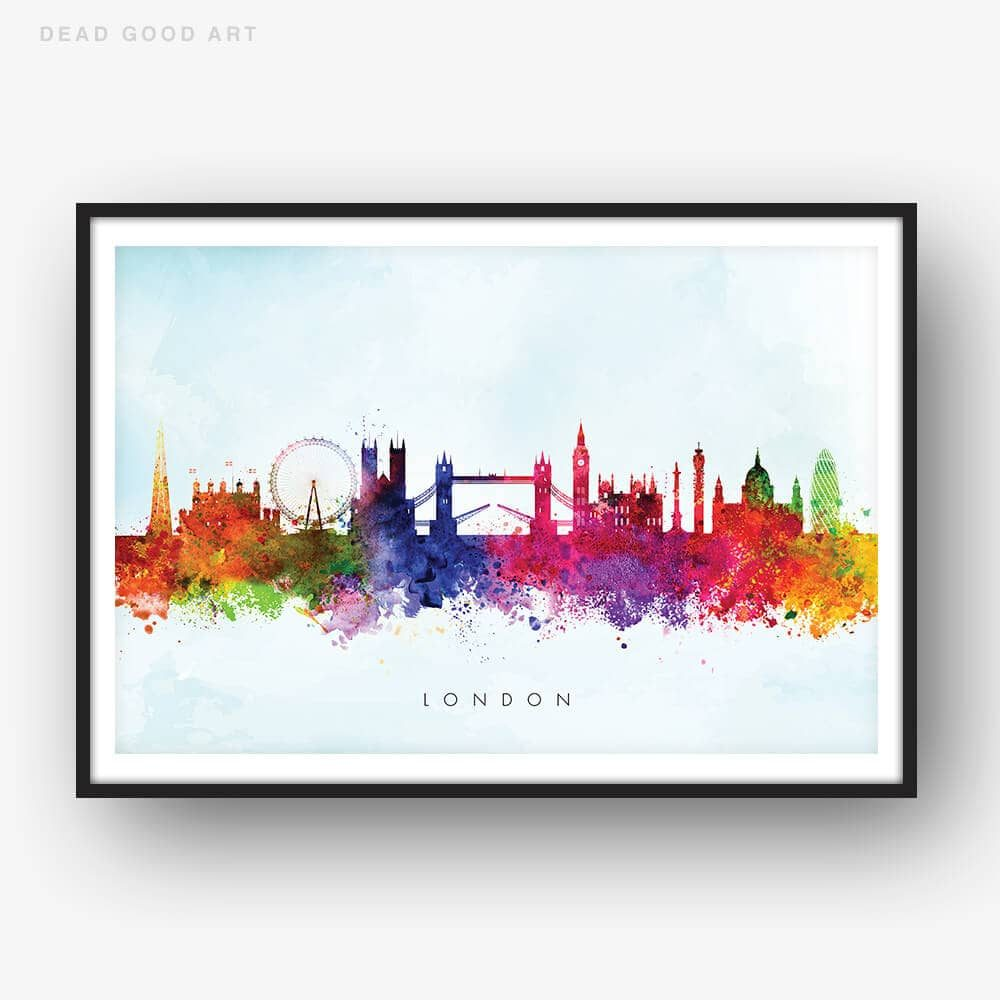 1000x1000 London Skyline, Blue Wash Watercolour Print Dead Good Art