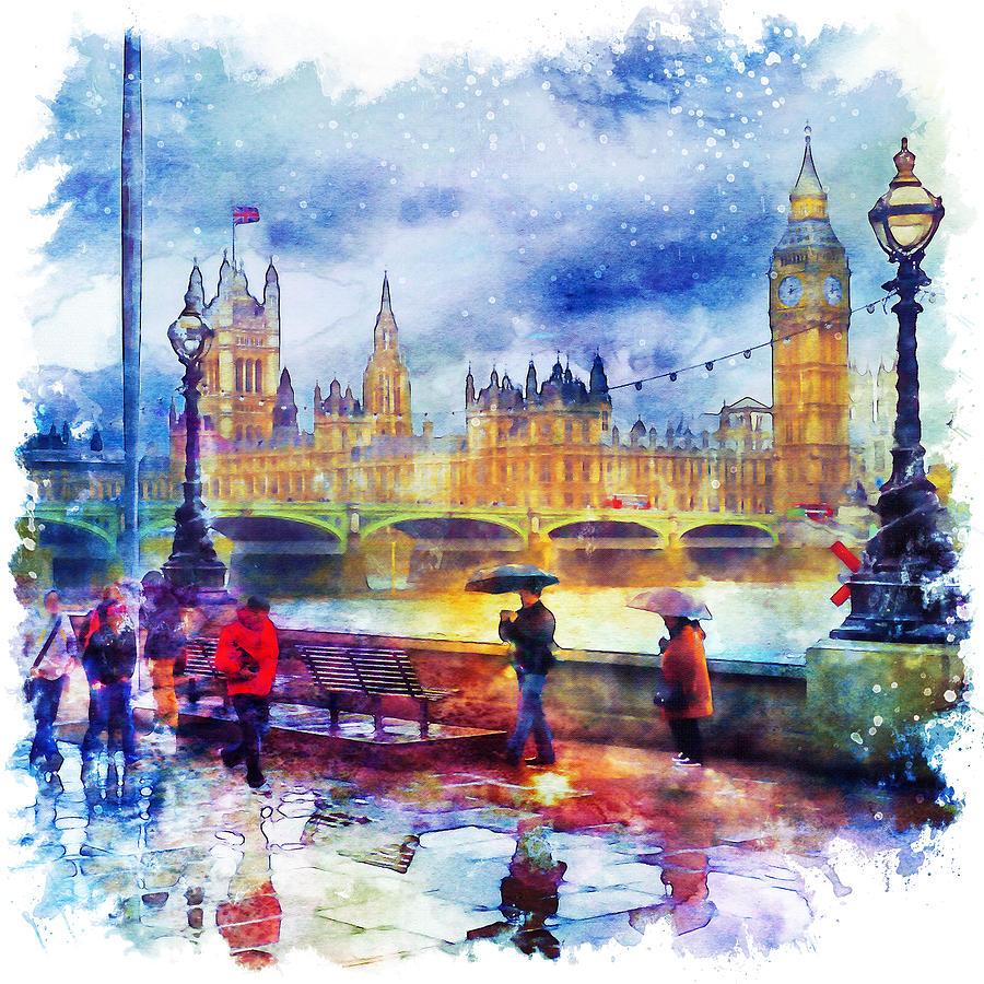 900x900 London Rain Watercolor Mixed Media By Marian Voicu