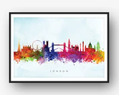400x320 London Skyline, Yellow Wash Watercolour Print Dead Good Art
