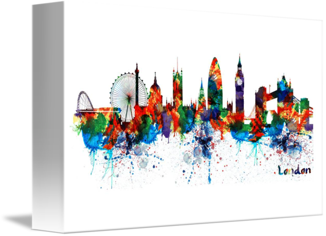 650x470 London Watercolor Skyline Silhouette By Marian Voicu