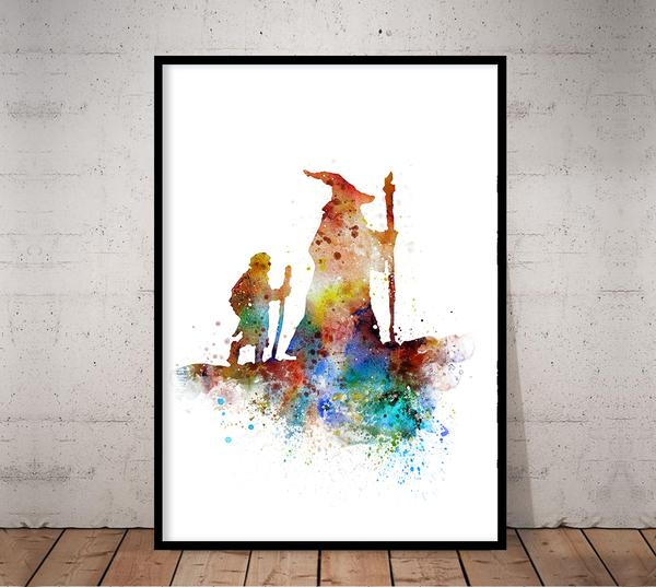 600x537 Lord Of The Rings Poster Gandalf Poster Hobbit Poster Watercolor