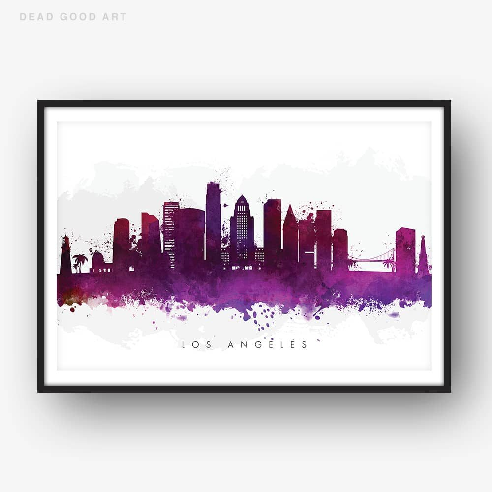 1000x1000 Los Angeles Skyline, Purple Watercolor Print Dead Good Art