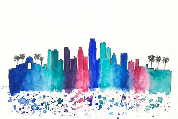 570x380 Los Angeles, Los Angeles City, City Skyline, Cityscape, Watercolor