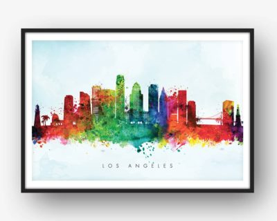 400x320 Los Angeles Skyline, Multi Color Watercolor Print Dead Good Art
