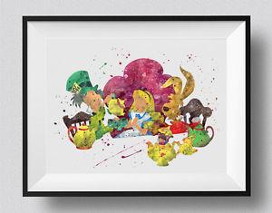 300x235 Alice In Wonderland Tea Party Mad Hatter Watercolor Print Nursery