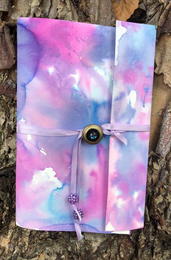 570x866 Midnight Magic Watercolor Tie Dye Sketchbook Purple Drawing Etsy