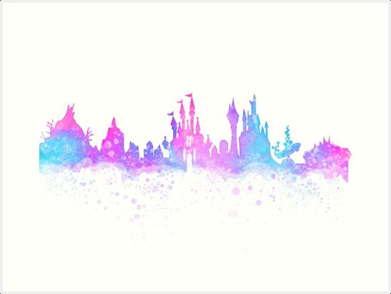 549x413 Orlando Florida Theme Park Magic Watercolor Skyline Silhouette