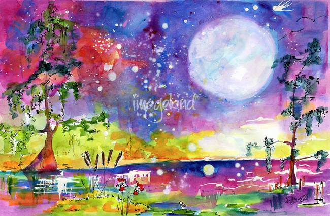 650x426 Swamp Lights Okefenokee Magic Watercolor By Ginette Callaway