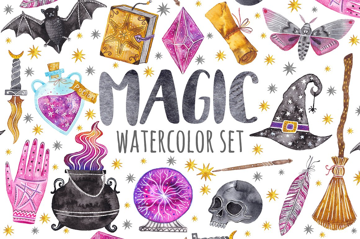1160x772 Watercolor Magic Set. Witchcraft In Illustrations On Yellow Images