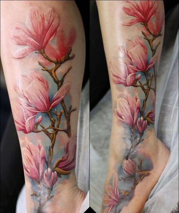 379b12ca5 600x716 Watercolor Nice Magnolia Flower Tattoo Design Image On Leg To Foot