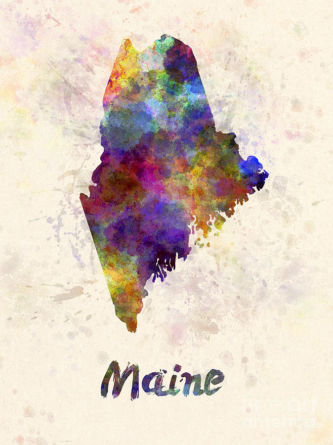 674x900 Maine Us State In Watercolor Painting By Pablo Romero