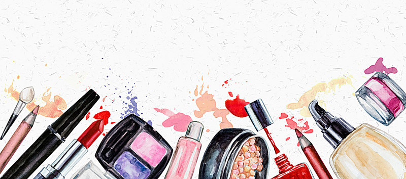 800x354 Handpainted Watercolor Background Makeup Cosmetics, Beauty