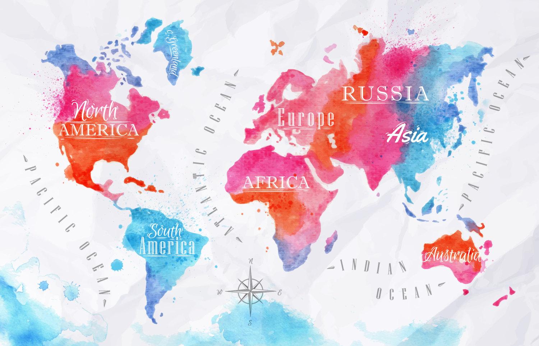 1500x962 World Map Wall Art Modern Watercolor
