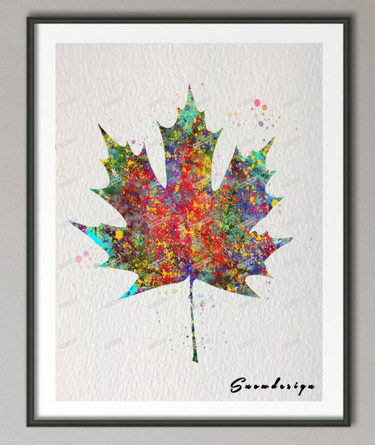 539x640 Original Watercolor Maple Leaf Canvas Painting Modern Wall Art