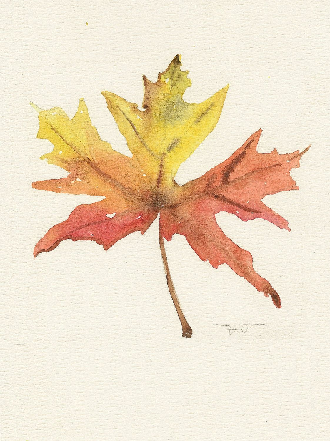 1122x1500 Maple Leaf, Original Watercolor Art, Still Life Painting
