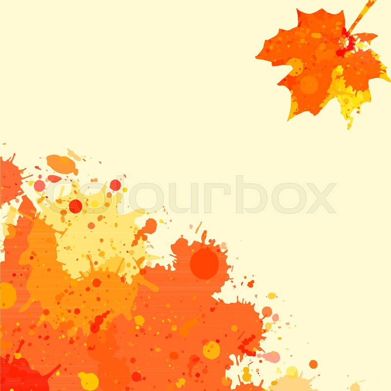800x800 Bright Orange Watercolor Paint Splatter Frame With Autumn Maple