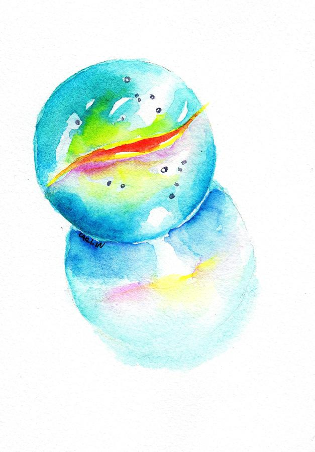 627x900 Toy Glass Marble Watercolor Painting By Carlin Blahnik