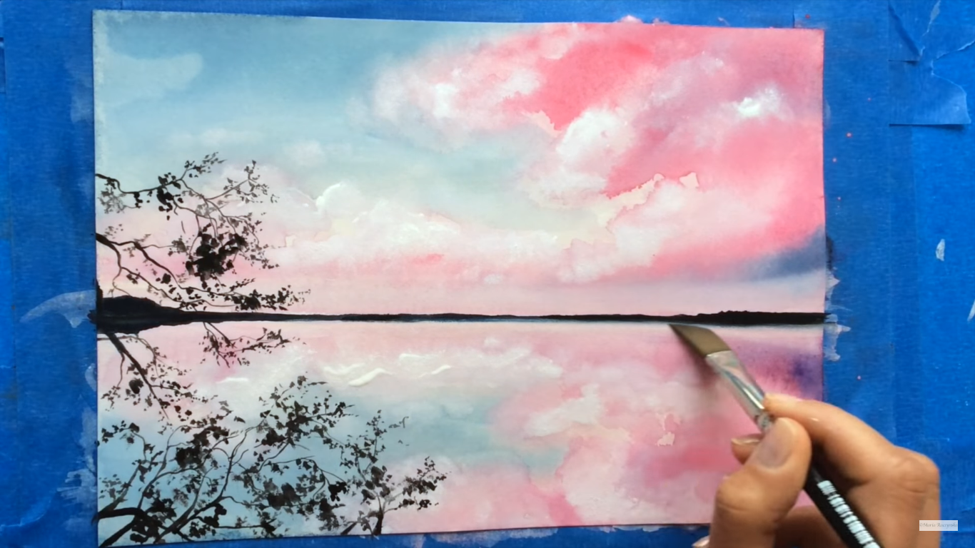 1366x768 Watercolor And White Gouache Clouds Painting Demonstration By