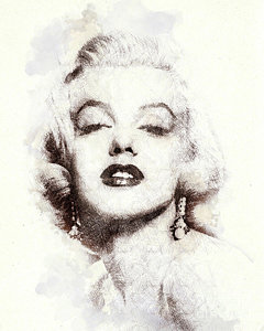 240x300 Marilyn Monroe Watercolor Paintings Fine Art America