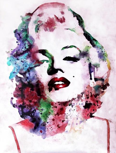 483x640 Marilyn Monroe Star Singers Modern Fashion Font B Watercolor B